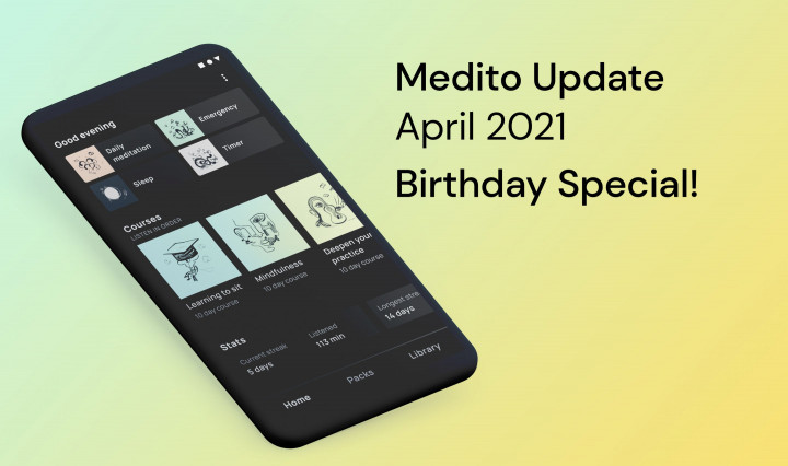 Medito Update - April 2021 🎂